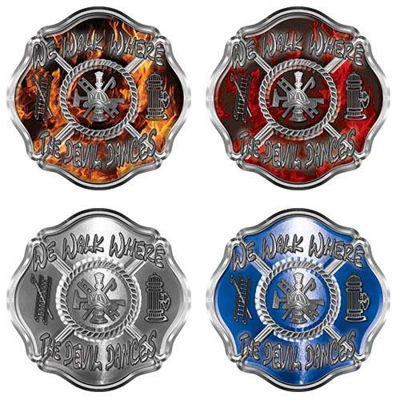 We Walk Where the Devil Dances Fire Rescue Firefighter Decals