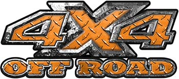 4x4 Truck Decals Offroad for Chevy Ford Dodge or Toyota in diamond plate orange
