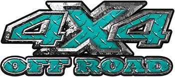 4x4 Truck Decals Offroad for Chevy Ford Dodge or Toyota in diamond plate teal