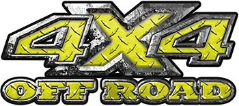 4x4 Truck Decals Offroad for Chevy Ford Dodge or Toyota in Yellow Diamond Plate