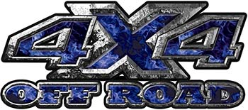 4x4 Truck Decals Offroad for Chevy Ford Dodge or Toyota with blue inferno flames