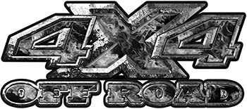 4x4 Truck Decals Offroad for Chevy Ford Dodge or Toyota with gray inferno flames