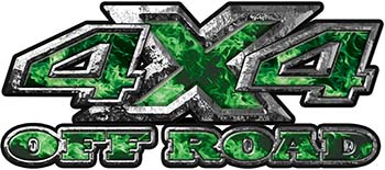 4x4 Truck Decals Offroad for Chevy Ford Dodge or Toyota with green inferno flames