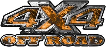 4x4 Truck Decals Offroad for Chevy Ford Dodge or Toyota with orange inferno flames
