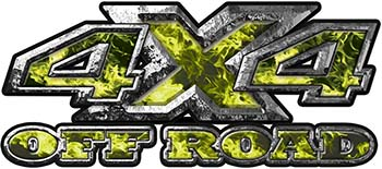 4x4 Truck Decals Offroad for Chevy Ford Dodge or Toyota with yellow inferno flames
