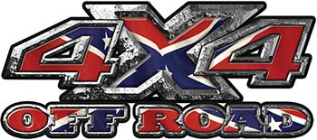 4x4 Truck Decals Offroad for Chevy Ford Dodge or Toyota with Rebel Confederate Battle Flag