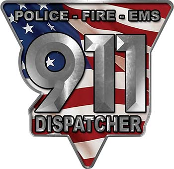 911 Emergency Dispatcher Police Fire EMS Decal with American Flag