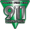 911 Emergency Dispatcher Police Fire EMS Decal in Green