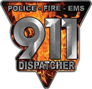 911 Emergency Dispatcher Police Fire EMS Decal in Inferno