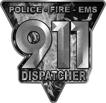 911 Emergency Dispatcher Police Fire EMS Decal in Gray Inferno