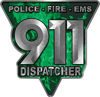 911 Emergency Dispatcher Police Fire EMS Decal in Green Inferno