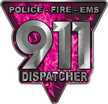911 Emergency Dispatcher Police Fire EMS Decal in Pink Inferno