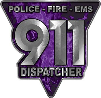 911 Emergency Dispatcher Police Fire EMS Decal in Purple Inferno