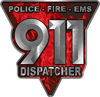 911 Emergency Dispatcher Police Fire EMS Decal in Red Inferno