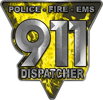 911 Emergency Dispatcher Police Fire EMS Decal in Yellow Inferno