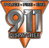 911 Emergency Dispatcher Police Fire EMS Decal in Orange