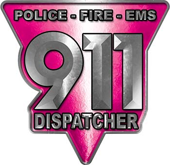 911 Emergency Dispatcher Police Fire EMS Decal in Pink
