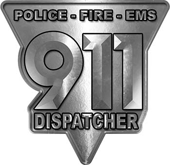 911 Emergency Dispatcher Police Fire EMS Decal in Silver