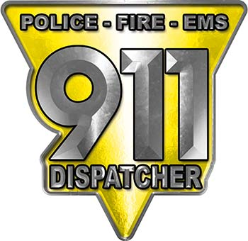 911 Emergency Dispatcher Police Fire EMS Decal in Yellow