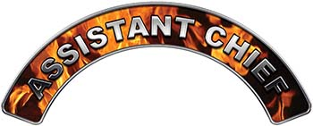 Assistant Chief Fire Fighter, EMS, Rescue Helmet Arc / Rockers Decal Reflective In Inferno Real Flames