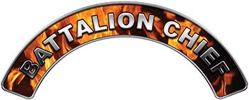 Battalion Chief Fire Fighter, EMS, Rescue Helmet Arc / Rockers Decal Reflective In Inferno Real Flames