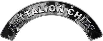 Battalion Chief Fire Fighter, EMS, Rescue Helmet Arc / Rockers Decal Reflective In Inferno Gray Real Flames