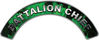 Battalion Chief Fire Fighter, EMS, Rescue Helmet Arc / Rockers Decal Reflective In Inferno Green Real Flames