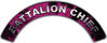Battalion Chief Fire Fighter, EMS, Rescue Helmet Arc / Rockers Decal Reflective In Inferno Pink Real Flames