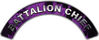 Battalion Chief Fire Fighter, EMS, Rescue Helmet Arc / Rockers Decal Reflective In Inferno Purple Real Flames