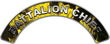 Battalion Chief Fire Fighter, EMS, Rescue Helmet Arc / Rockers Decal Reflective In Inferno Yellow Real Flames