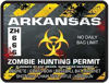 Zombie Hunting Permit Decal Danger Zone Style for Arkansas