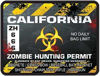 Zombie Hunting Permit Decal Danger Zone Style for California
