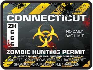 Zombie Hunting Permit Decal Danger Zone Style for Connecticut