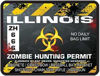 Zombie Hunting Permit Decal Danger Zone Style for Illinois