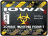 Zombie Hunting Permit Decal Danger Zone Style for Iowa