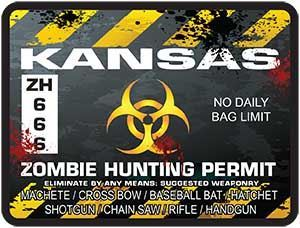 Zombie Hunting Permit Decal Danger Zone Style for Kansas