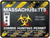 Zombie Hunting Permit Decal Danger Zone Style for Massachusetts