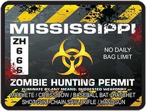Zombie Hunting Permit Decal Danger Zone Style for Mississippi