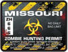 Zombie Hunting Permit Decal Danger Zone Style for Missouri