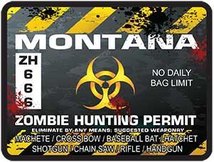 Zombie Hunting Permit Decal Danger Zone Style for Montana