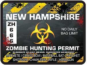 Zombie Hunting Permit Decal Danger Zone Style for New Hampshire