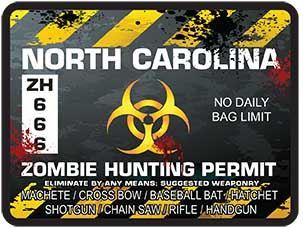 Zombie Hunting Permit Decal Danger Zone Style for North Carolina