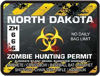 Zombie Hunting Permit Decal Danger Zone Style for North Dakota