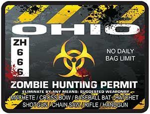 Zombie Hunting Permit Decal Danger Zone Style for Ohio