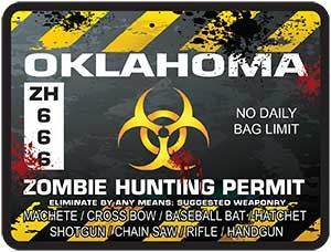 Zombie Hunting Permit Decal Danger Zone Style for Oklahoma