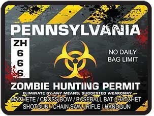 Zombie Hunting Permit Decal Danger Zone Style for Pennsylvania