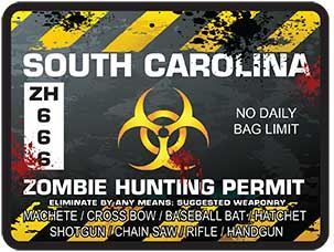 Zombie Hunting Permit Decal Danger Zone Style for South Carolina