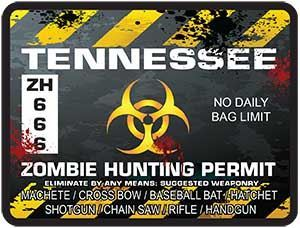 Zombie Hunting Permit Decal Danger Zone Style for Tennessee