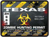 Zombie Hunting Permit Decal Danger Zone Style for Texas