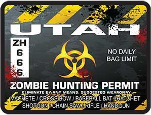 Zombie Hunting Permit Decal Danger Zone Style for Utah